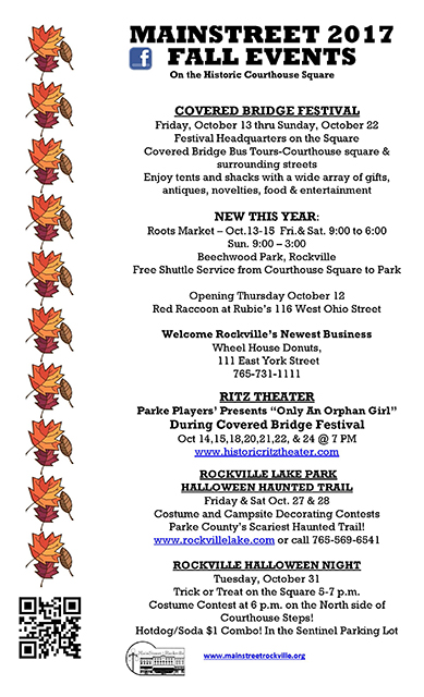 2017 mainstreet fall events flyer